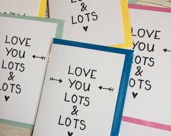 Love you lots card, anniversary card, girlfriend boyfriend birthday card, husband anniversary card, wife anniversary card, love you card