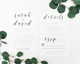 Black and White Minimal Wedding invitations | Printable Wedding invitations | 5x7 Wedding Invitation Suite