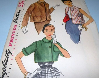 1950s Simplicity 1054 JACKET Pattern size 14, Bust 32 Cut and Complete