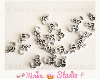 50 charms zen om (ohm) silver-plated 16x11mm