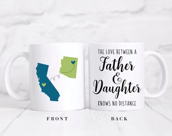 Long Distance State Coffee Mug, Father's Day Gift, State To State Mug, The Love Between A Father And Daughter Knows No Distance