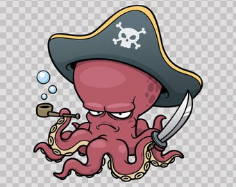 Stickers decal Pirate Octopus With Pipe 13342