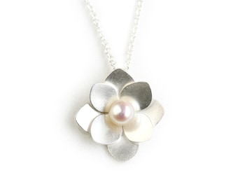 Silver and Pearl Necklace - Layered Hydrangea Necklace - Hydrangea Blossom Necklace