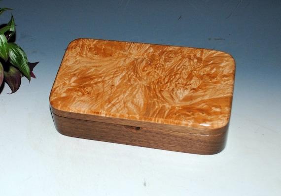 Wooden Box - Handmade Wood Box - Maple Burl on Walnut - Stash Box, Wood Jewelry Box, Desk Box - Handmade Box by BurlWoodBox - Small Wood Box