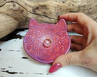 Cat Ring Dish, Ceramic Cat Bowl, Handmade Pottery Cat Jewelry Holder, Trinket Plate, Small Ring Cat Dish, Ready to Ship.