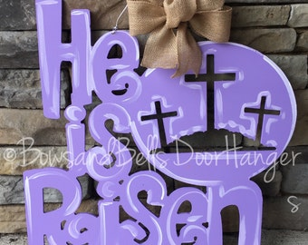 Easter door hanger, spring door hanger, he is risen door hanger, easter wreath, spring door decor, easter door decor