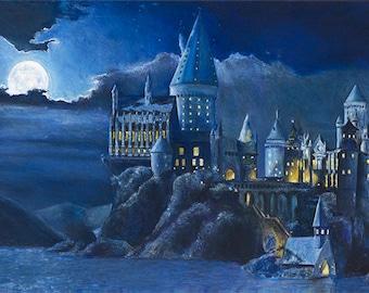 Harry Potter Art Print Harry Potter Hogwarts Castle At Night