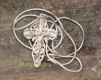 Vintage Silver Cross on a Sterling Silver Snake Chain