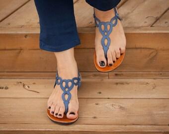 Sandales plates en cuir sandales, sandales bleus, de bleu, chaussures, livraison gratuites pour l'été