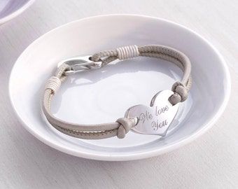 Personalised Heart Leather Bracelet (HBB36)
