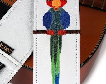 Parrot on White Leather Guitar Strap