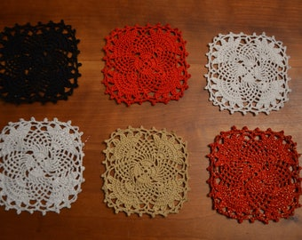 Hand made. Square doily - coaster - starched red gold white silver black, 11 cm, choice of colors.