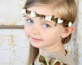 White Floral crown, Boho floral Halo, flower crown girls adults baby