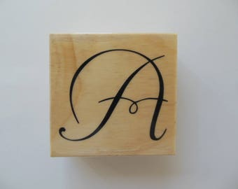 Letter A Rubber Stamp - Garden Canvas 2 Collection - Wood Mounted Rubber Stamp - Alphabet Letter A Stamp