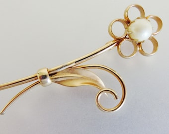 Vintage Signed Cultured Pearl Brooch Pin   12K GF Floral Brooch Jewelry   Ladies Pearl Jewellery Jewelry   Gift Jewelry for Her