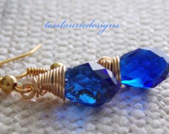 Sapphire Blue Teardrop Earrings Dangle Earrings Blue Wedding Christmas Gift Thanksgiving Jewelry Bridesmaids Jewelry Flower Girl Jewelry
