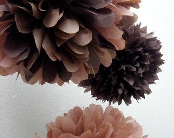 BROWNS ... 3 tissue paper poms // diy // wedding reception // valentines day // birthday // bar mitzvah // party decorations