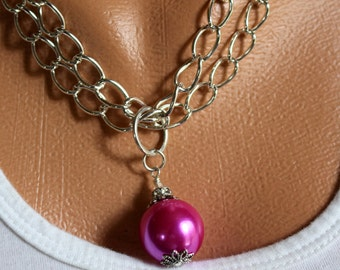 HOT PINK Necklace, Pink Necklace, Pink Pendant Necklace, Pink Drop Pendant Necklace