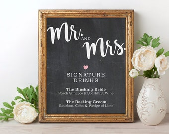 Signature drinks sign printable wedding signature drinks signature drink sign his her signature drink sign chalkboard wedding drink sign chalkboard signs wedding signature drinks junglespirit Gallery