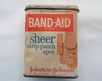 Vintage Band Aid Brand Sheer Strip Patch Spot Johnson & Johnson Band Aid  Tin