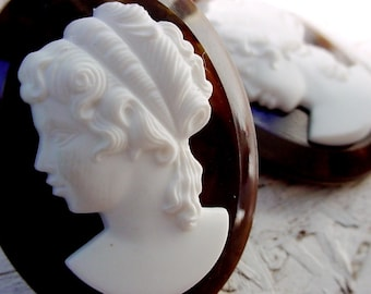 1pc Vintage 40/30 mm Tortoise Shell Cameos Molded Resin Alabaster White Lady On Marbled Amber Brown Lucite 30/40 Oval Victorian Cabochon 10Q