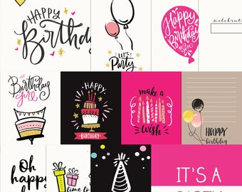Printable birthday girl journal cards, Digital journal cards, Project life printables, Digital Project life, Birthday girl journaling cards