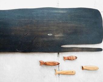"""Wooden Whale Wall Art 40"""" - Nautical Decor - Wooden ocean decor - wooden whale decor - Vintage Wall decor - Whale art  - Beach house decor"""