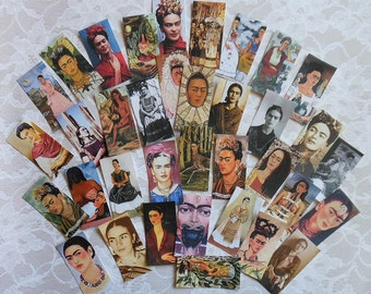 36 Printed stickers- SUPER SET of  Frida Stickers- 36 Frida jewelry craft prints- Frida crafts DIY Frida dominoes Frida Images and paintings