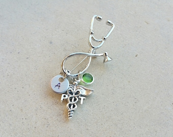 PT Physical Therapy Handstamped Personalized Crystal Birthstone Initial Graduation Stethoscope Pin Brooch