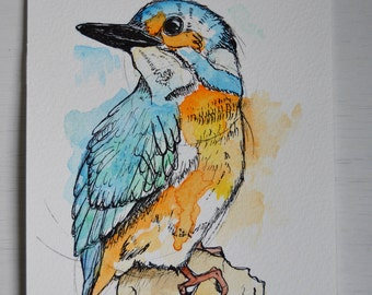 Hand painted Kingfisher - Watercolour and Ink