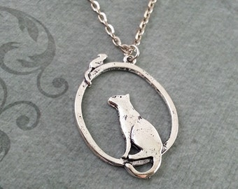 Cat Necklace, Cat Jewelry, Silver Cat Pendant, Cat Charm, Cat Gift, Cat Jewelry, Pendant Necklace, Cat and Mouse Gift, Cat Lover Gift
