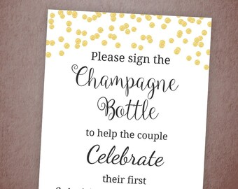 Please Sign Our Wine Bottle Sign Printable, Wedding Anniversary, Sign Champagne Bottle, Gold Confetti, Guest Book, Bar Sign, Reception, A001