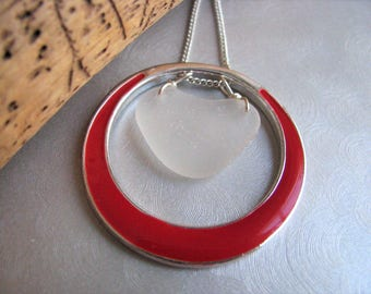 White Heart in Red Circle Sea Glass - Sea Glass Pendant - Red Circle Pendant - Beach Glass Jewelry -Pure Sea Glass from Prince Edward Island