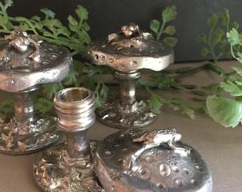 VINTAGE Dekor... Zinn geheimen Kästchen Zahnfee-Frosch Pilz ~ Wald geboren ersten Zahn Kinderzimmer ~ Strumpf Weihnachten-Schatz