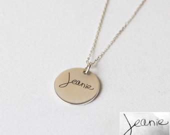 Handwriting Disc Necklace • Your Actual Handwriting Necklace • Signature Charm Necklace• Mother in Law Gift• Personalized Gift NM20