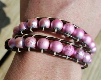 Handmade Spring Fever Leather Beaded Wrap Bracelet