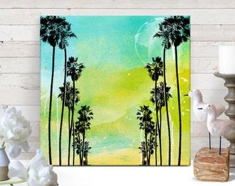 Palm Tree Art, Canvas Art, Tropical Decor, Beach Decor, Beach art, Cottage Decor, Coastal Decor, Island Decor, Canvas Print, 12x12 art