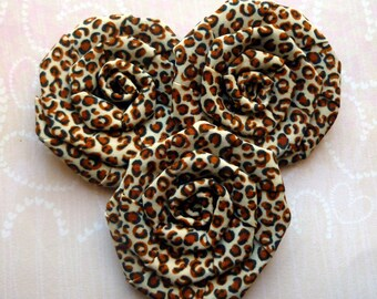 LARGE flower embellishment leopard spot beige Brown applique rosette 6cm