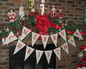 Merry Christmas Banner  ...  Burlap Banner   ....  Holiday Decoration  ...  Merry Christmas