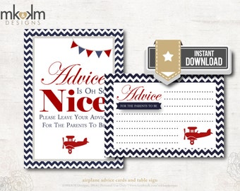 Airplane Baby Shower, Advice Cards For Parents To Be, Red and Navy Advice Cards, Travel Baby Shower, Boy Baby Shower, INSTANT DOWNLOAD, #A1