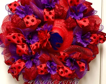 Red Hat Society Wreath, Red Hat Wreath,    Front Door Wreaths,Wreaths,Door Hanger,Door Hanger