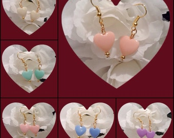 Sweetheart Gold Plated Heart Shaped Valentine Earrings in a Choice of 6 Pastel Shades by Emerald Forest Designs