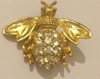 Vintage Rhinestone Set Bumble Bee Brooch, Art Nouveau Style Costume Jewellery, unsigned Insect Pin