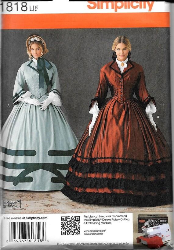 Simplicity 1818 Misses Bürgerkrieg Ballkleid südlichen Kostüm