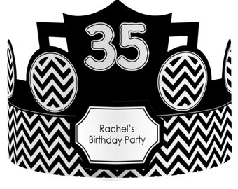 8 Custom Party Hat - Chevron Black and White Birthday Party Supplies - Set of 8