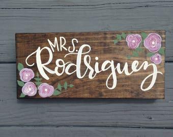 Custom Name Desk Plaque, Teacher Gift, Custom Hand Painted Teacher Gift, Custom Floral Name Plaque, Wood Stained Wood Name Sign, Hand Letter