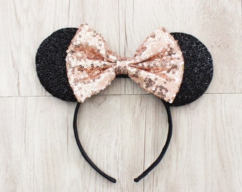 Rose Gold, Minnie Mouse Ears, Gold Disneyland Ears, Gold Sequin Bow, Mickey Mouse Ears, Minnie Ears, Mickey Ears, Disney Ears, Disney World