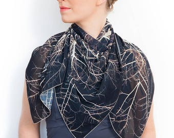 Ladies scarf, Wearable art, Dark scarf, Branches scarf, Tree Scarf, Printed accessory, Unique scarf, Women gift, Luxury gift, Square Scarf