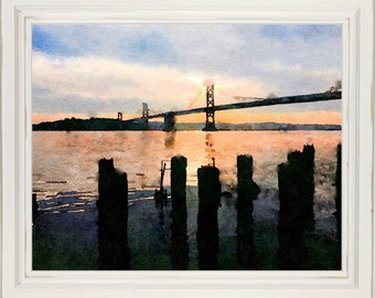 San Francisco Bay Print from Watercolor Home Decor Wall Art No 98