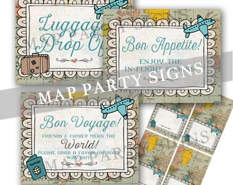 World Traveler Baby Shower Luggage Drop-Off Tent Card Precious Cargo Shower Map Invitation Travel Adventure Shower Party Signs